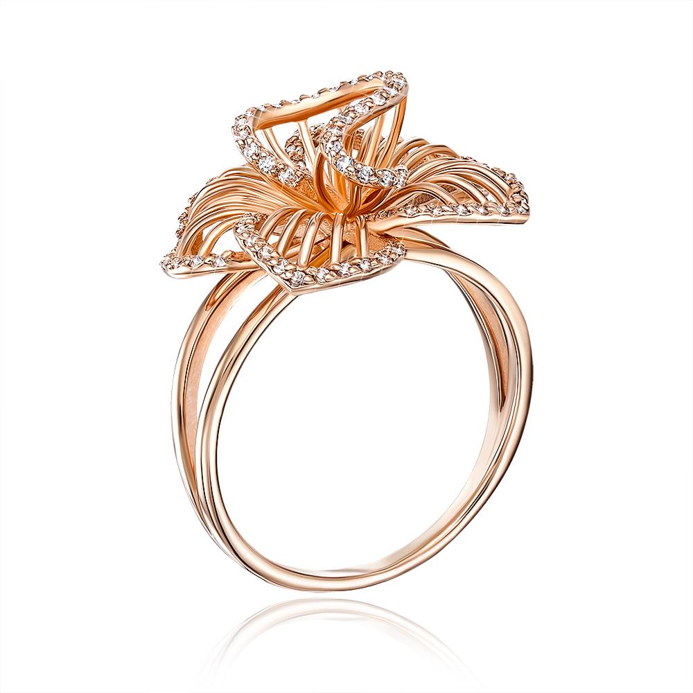 Золотое кольцо «Цветок» с фианитами. Артикул 13036