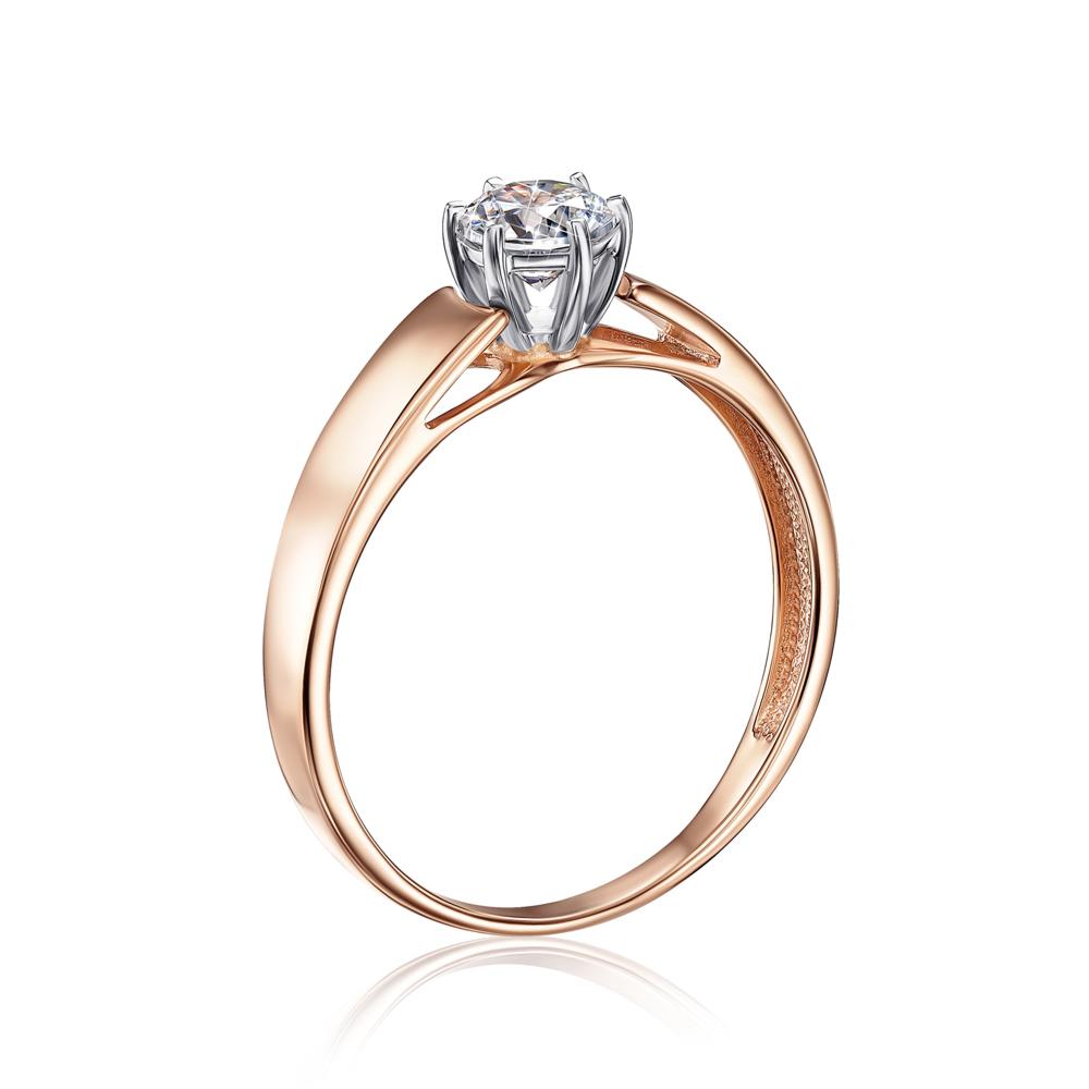 Золотое кольцо с фианитом Swarovski Zirconia. Артикул 12156/SW