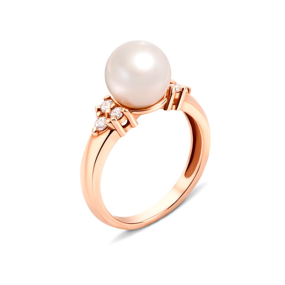 Золотое кольцо с жемчугом и фианитами. Артикул 13097
