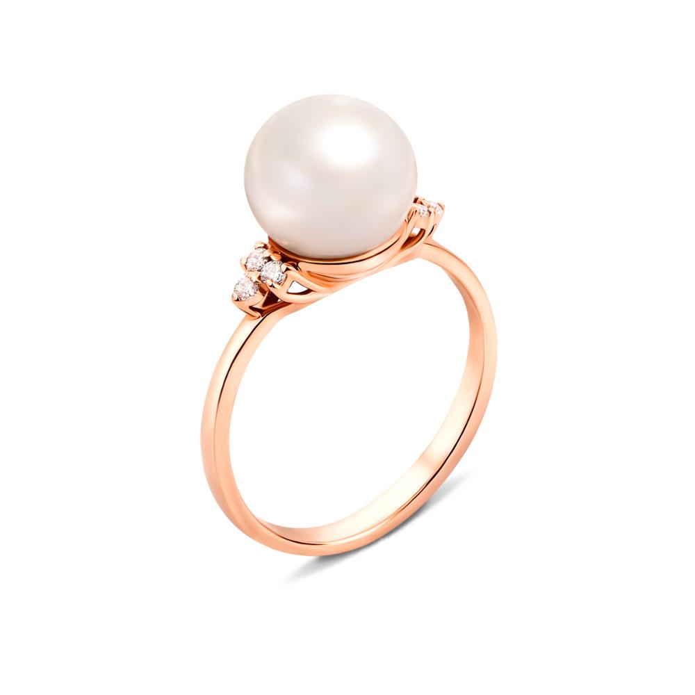 Золотое кольцо с жемчугом и фианитами. Артикул 13105 с