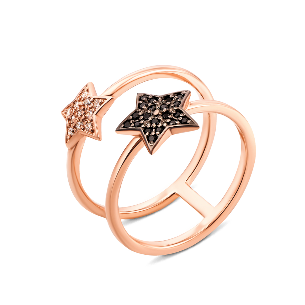 Золотое кольцо «Звезда» с фианитами (13160/01/1/7)