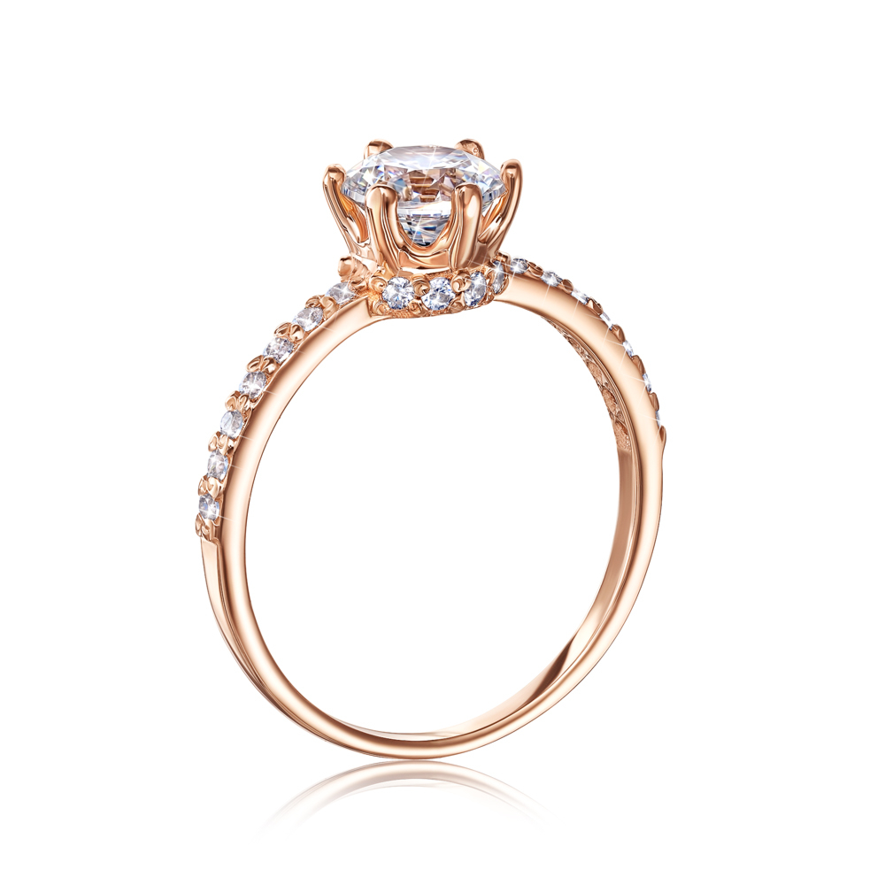 Золотое кольцо с фианитами. Артикул 12310