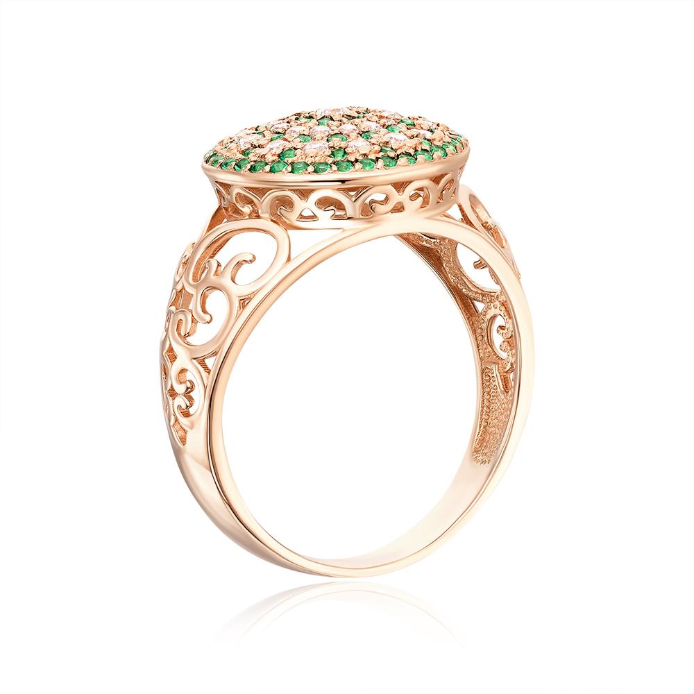 Золотое кольцо с фианитами. Артикул 12943/цв сп