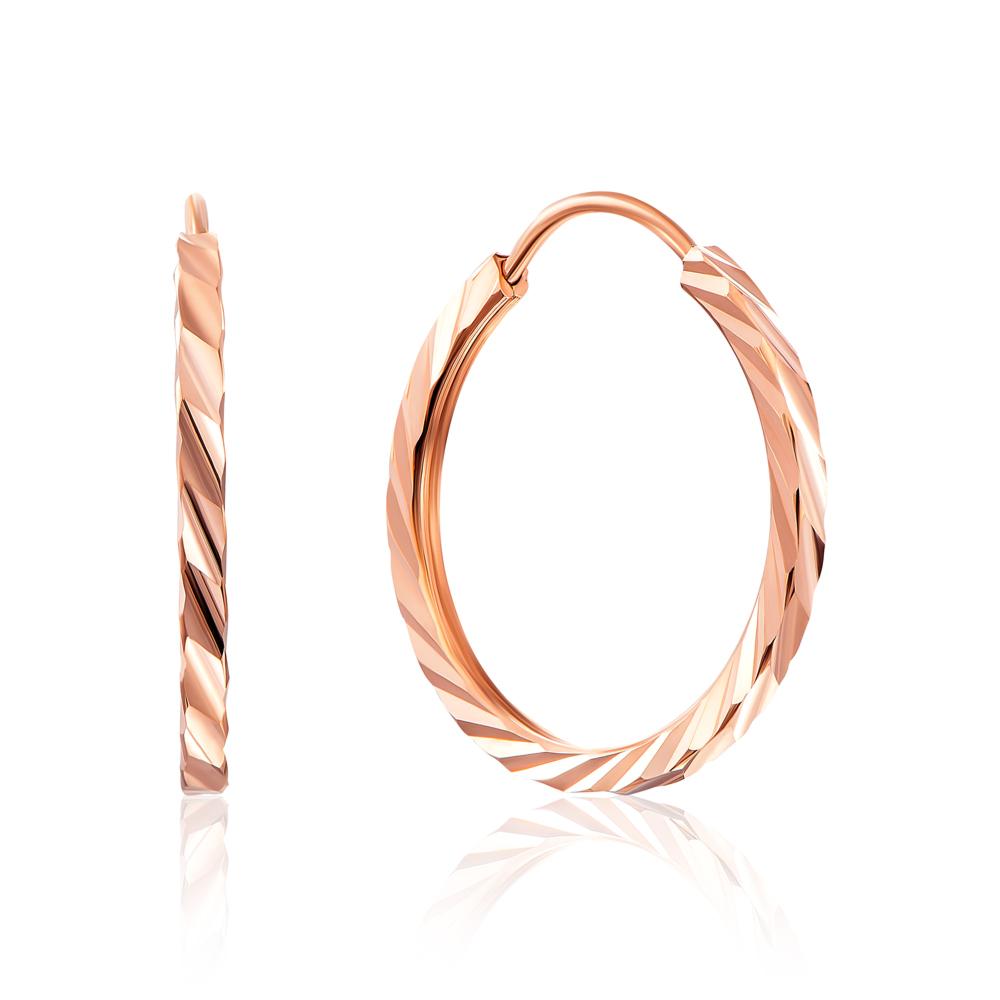 Золоті сережки-конго з алмазною гранню. Артикул 20810/1