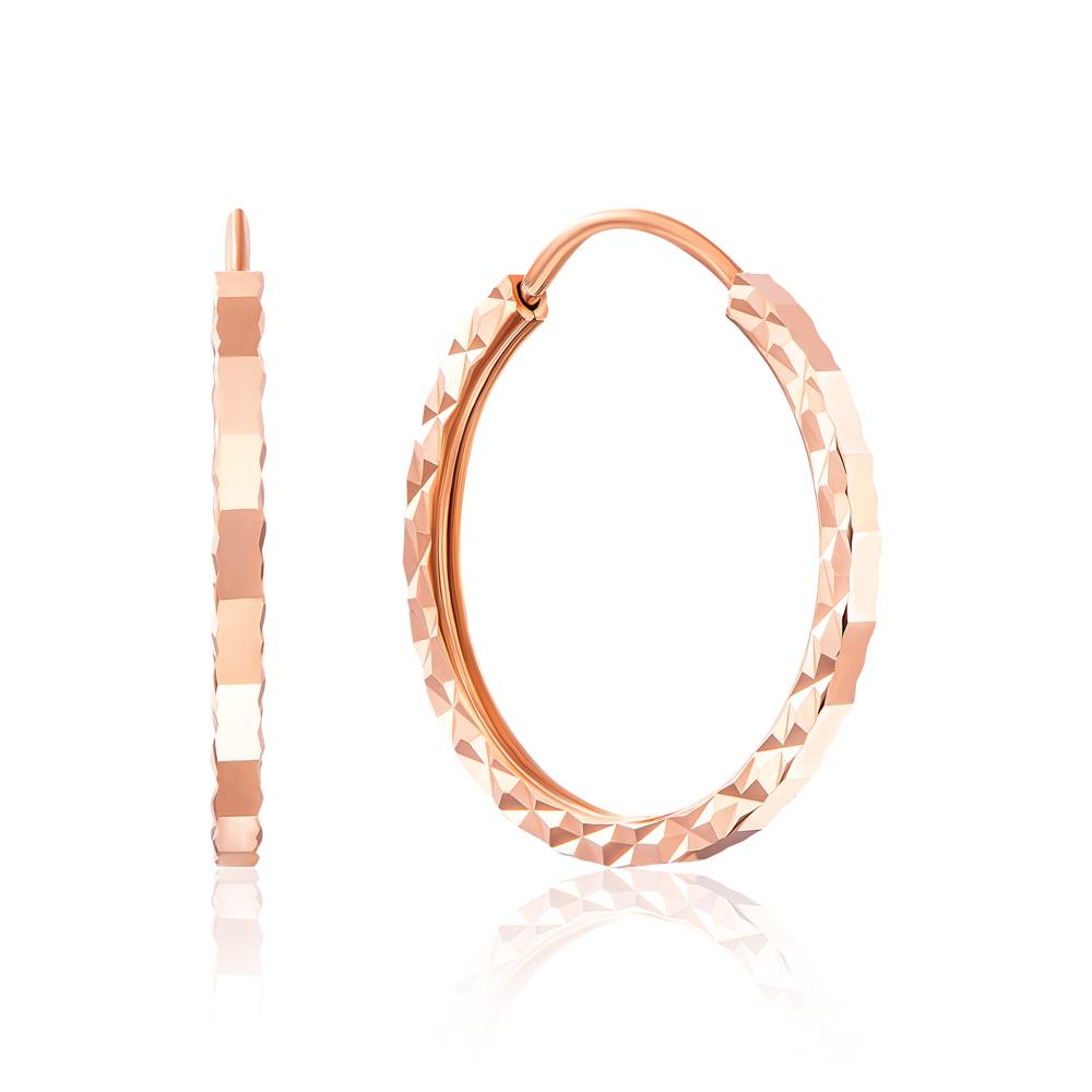 Золоті сережки-конго з алмазною гранню. Артикул 20860/1