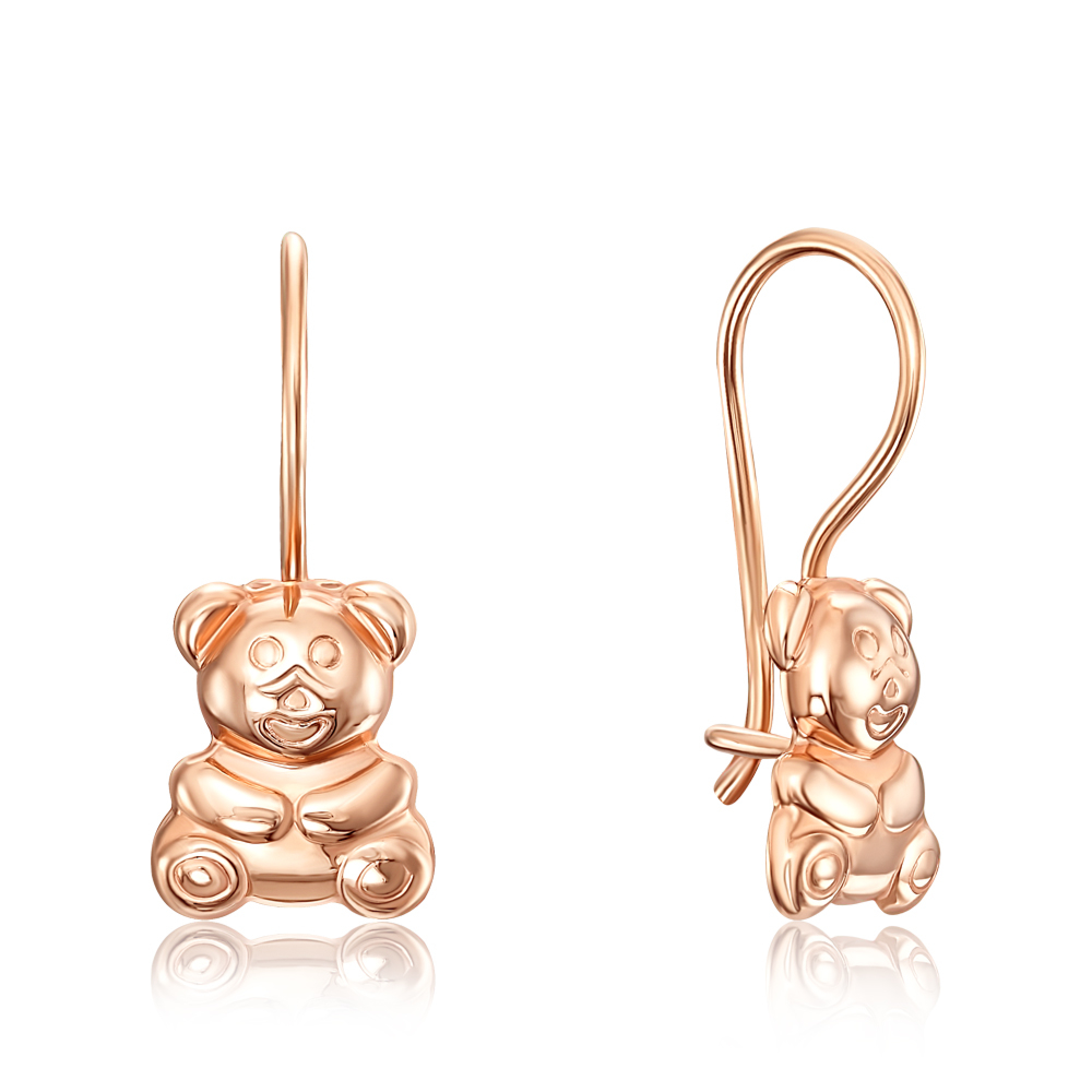 Золотые серьги «Медвежата» без вставки. Артикул 02958