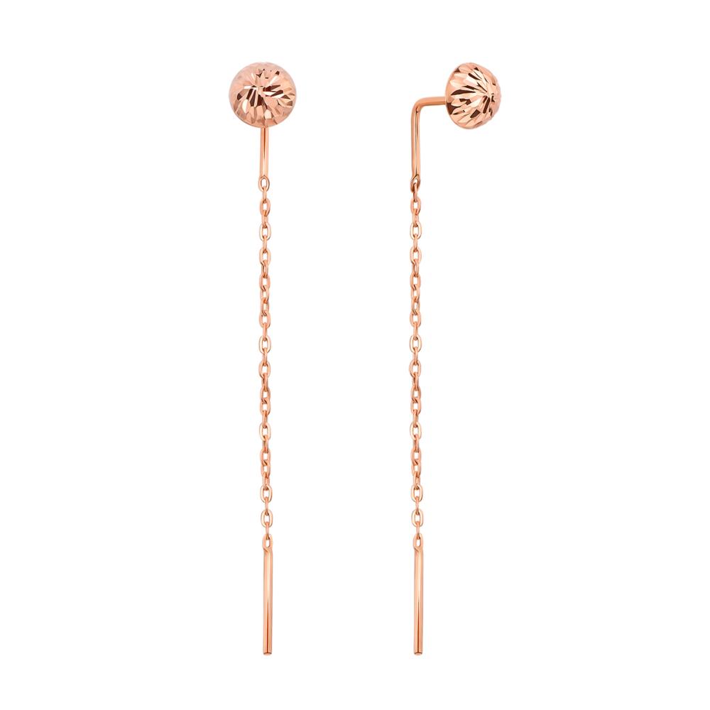 Золотые серьги-протяжки (продевки) с алмазной гранью (02824/01/2)