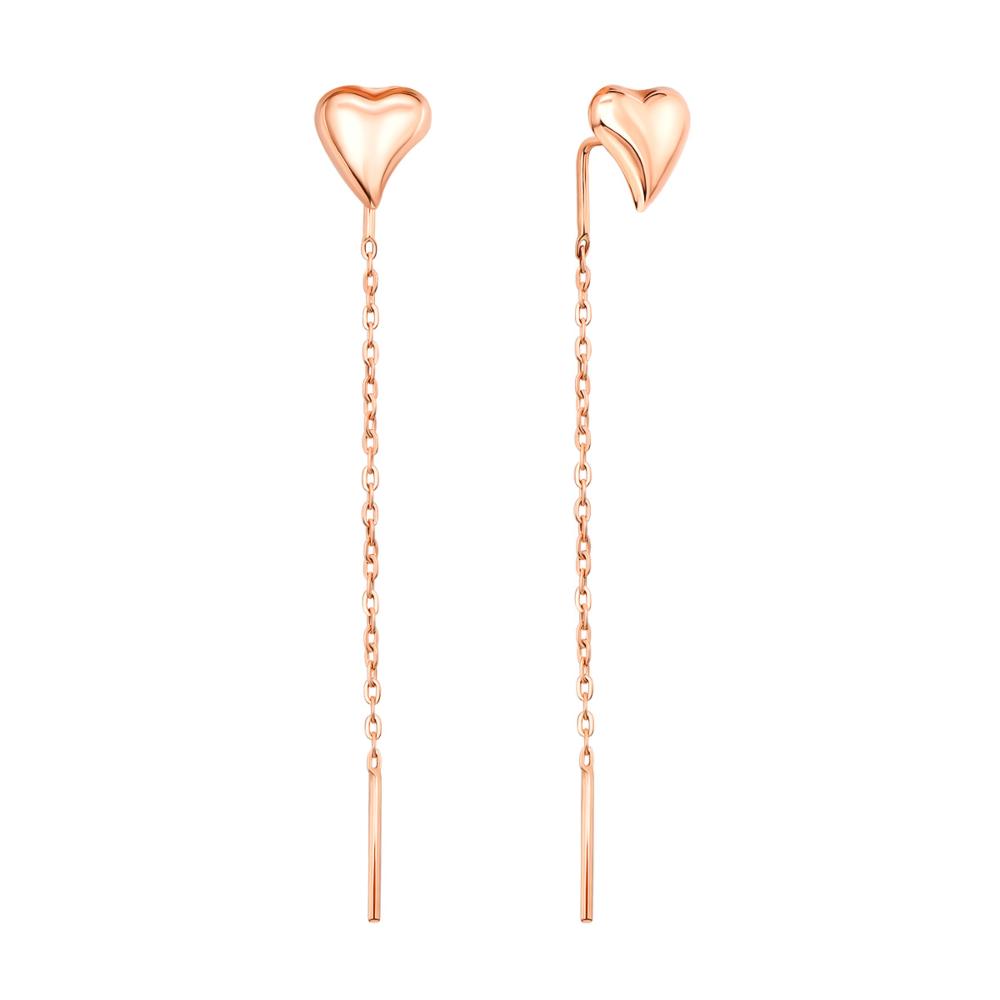 Золоті сережки-протяжки Серце (02822)