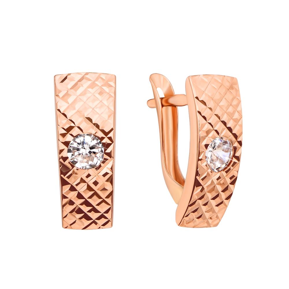 Золоті сережки з алмазною гранню і фіанітами (02917-2/01/2/22 (02917/б)